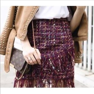 NWOT Zara woven multicolor asymmetrical skirt